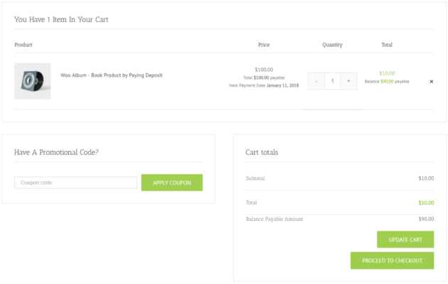 SUMO WooCommerce Deposits Payment Plans Plugin - Deposit Cart Page