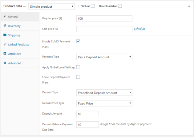 SUMO WooCommerce Deposits Payment Plans Plugin - Deposit Product Settings