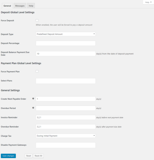 SUMO WooCommerce Deposits Payment Plans Plugin -General Settings