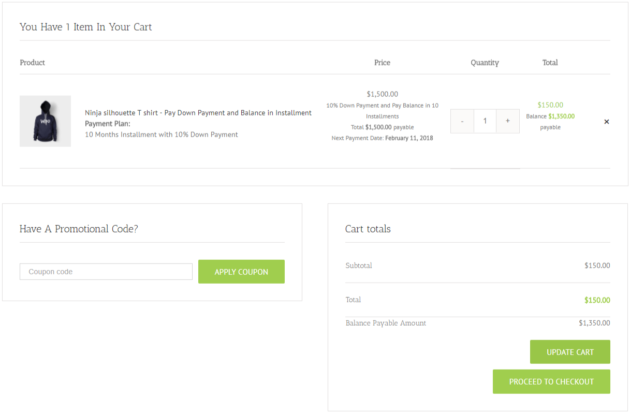SUMO WooCommerce Deposits Payment Plans Plugin -Payment_Plan - Product Cart Page