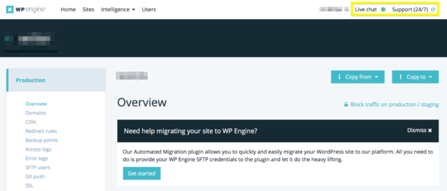 WP Engine's support options.