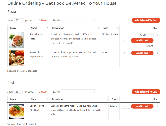 example of restaurant order form