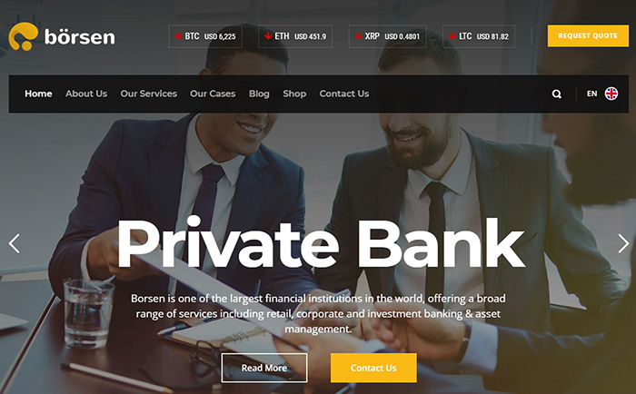 Borsen Crypto Currency & Finance WordPress Theme