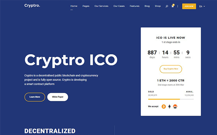Cryptro - Cryptocurrency, Blockchain , Bitcoin & Financial Technology Theme