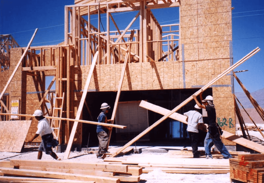 Men building a house.