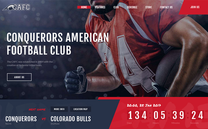 Conquerors | American Football Club WordPress Theme