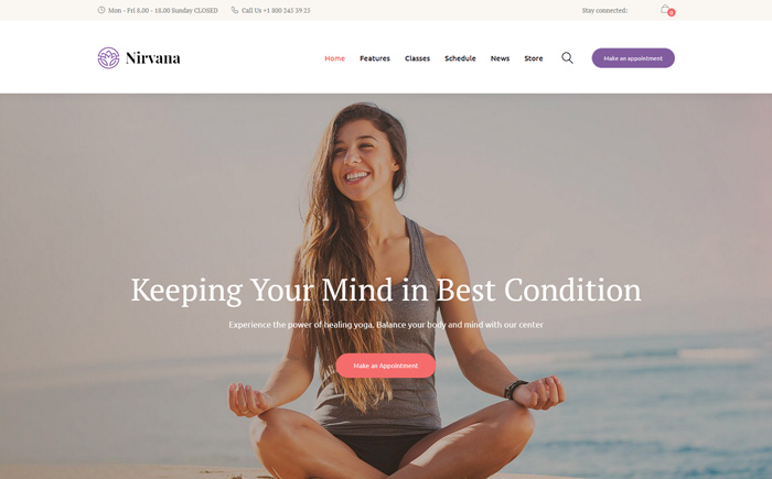 Nirvana | Yoga Studio and Fitness Club WordPress Theme