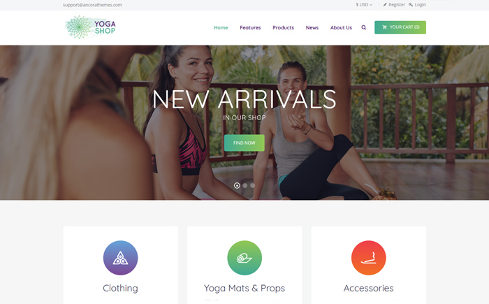 Yoga Shop - A Modern Sport Clothing & Equipment Shop WordPress Theme