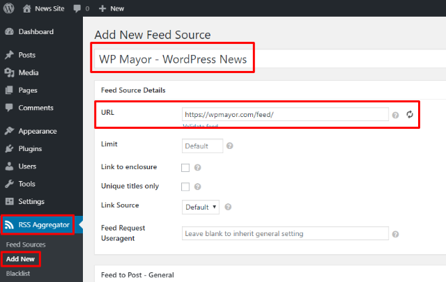 add rss feed to WordPress news website