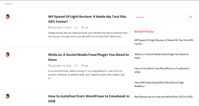 Example of WordPress news site