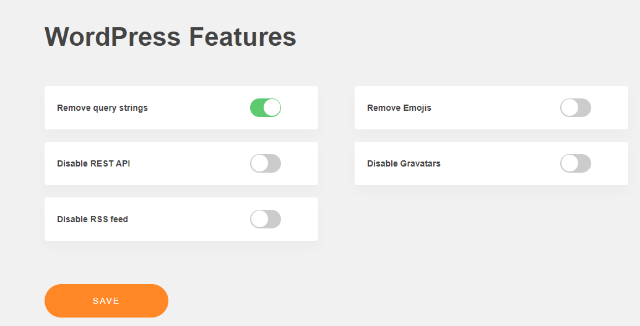 disable wordpress features