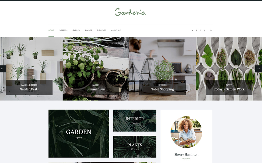 Gardenia - A Stylish Gardening Personal Blog WordPress Theme