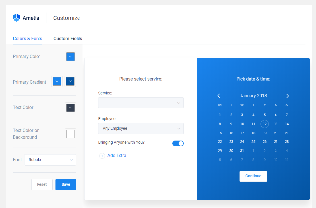 booking template