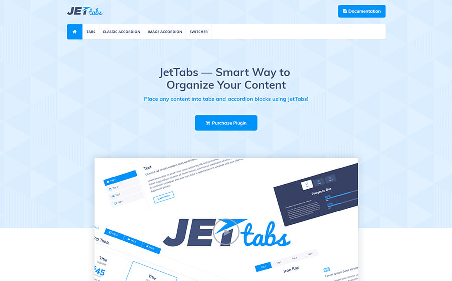 The JetTabs Elementor plugin.
