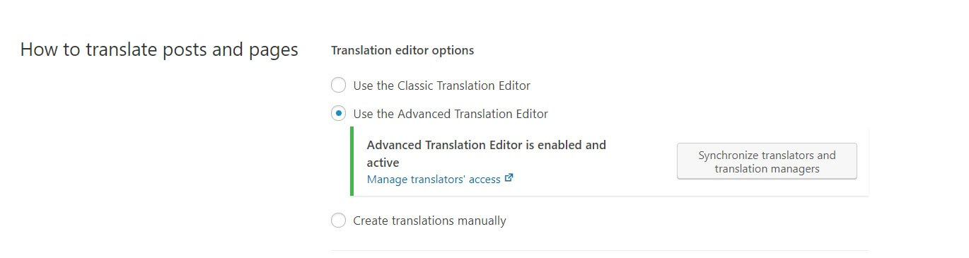 Activating the Advanced Translation Editor.
