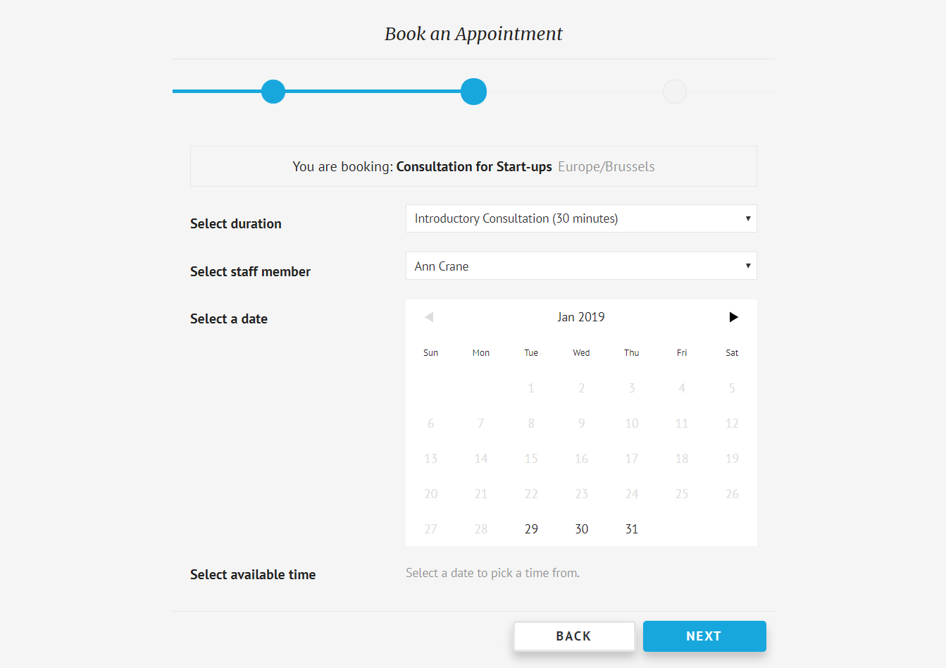 An example of an appointment booking form.