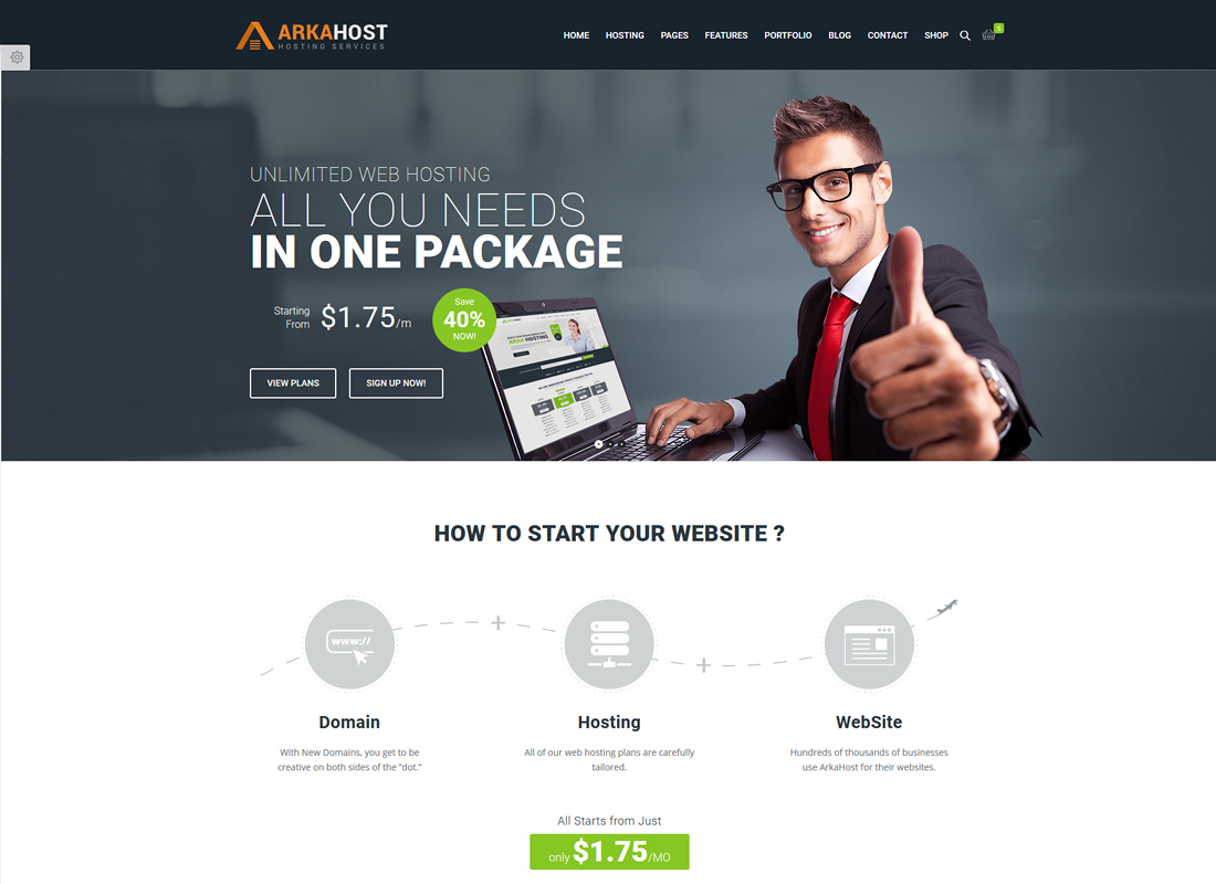 Arka Host | WHMCS Hosting, Shop & Corporate WordPress Theme