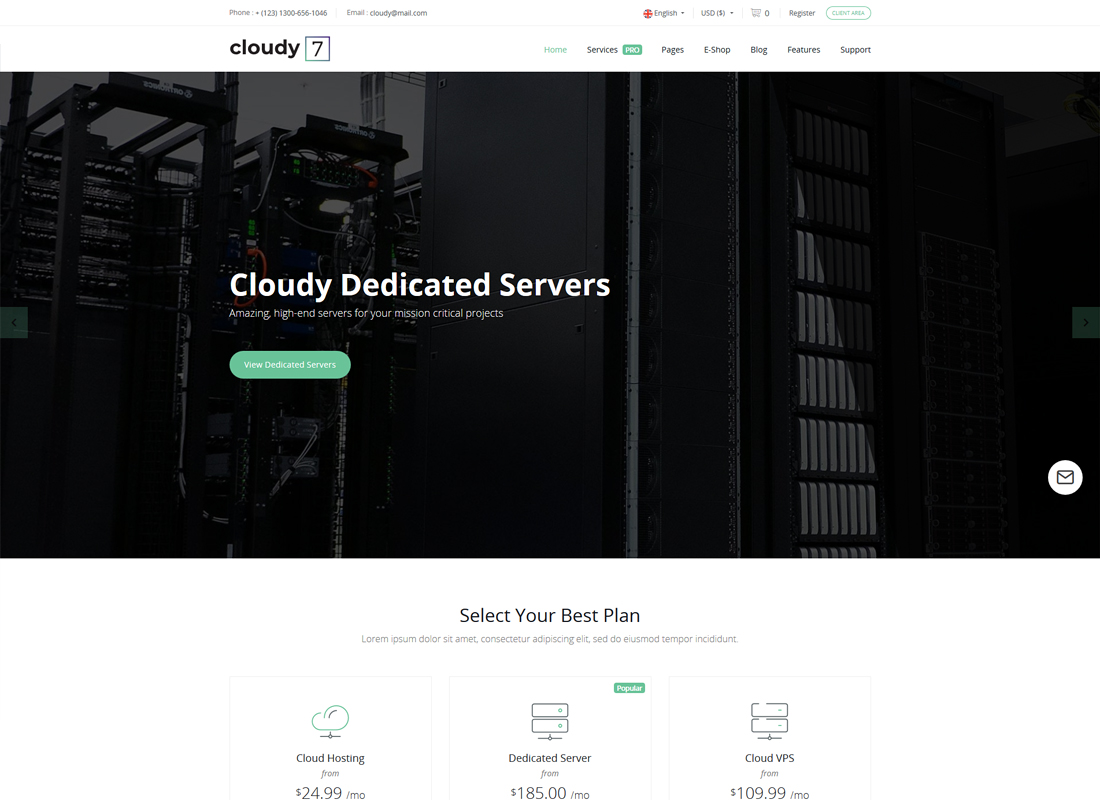 Cloudy 7| Hosting Service & WHMCS Template