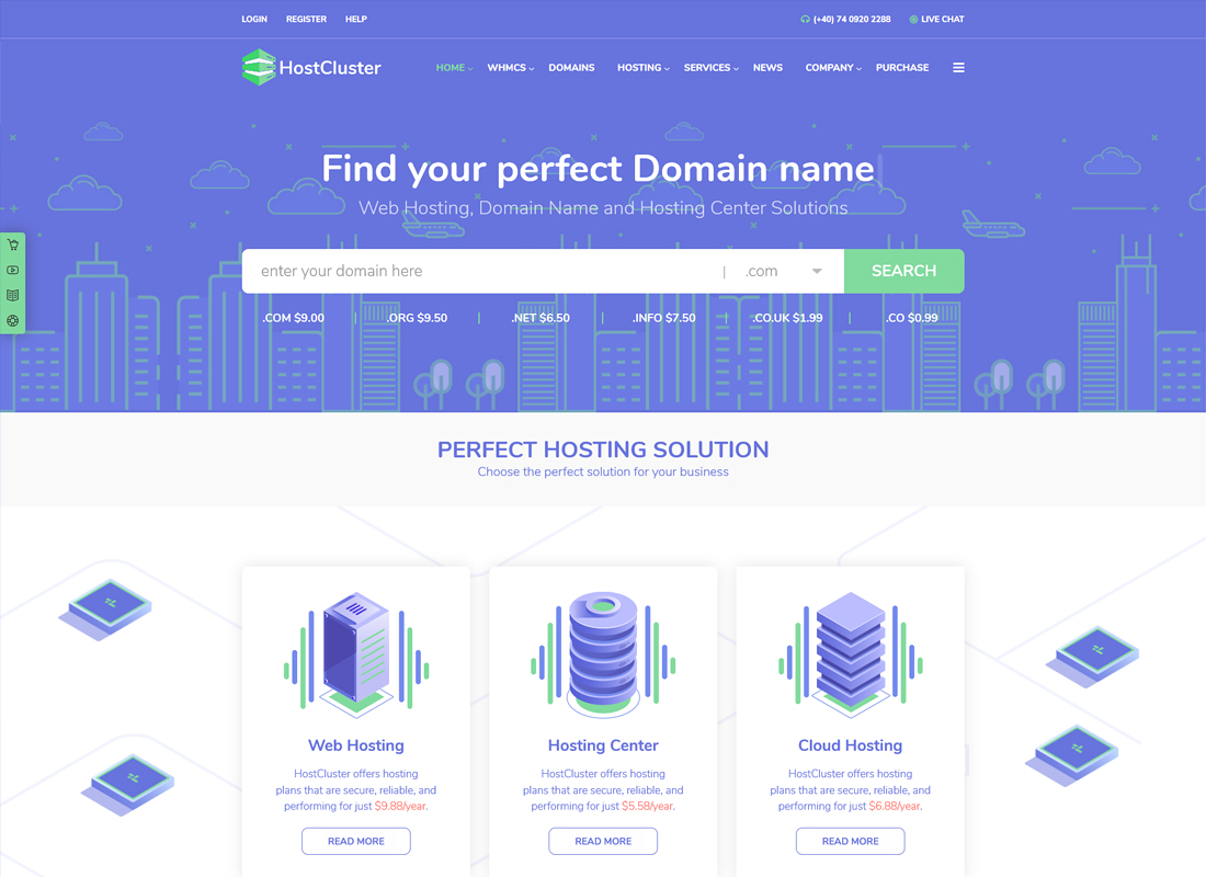 HostCluster | WHMCS Server & Hosting WordPress Theme