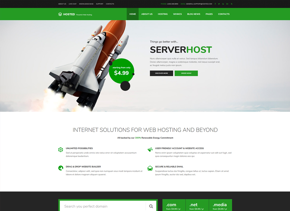 Hosted | Hosting WordPress Theme + WHMCS