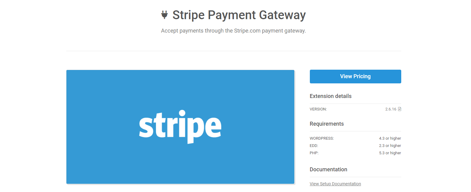 The Stripe Payment Gateway extension for EDD.