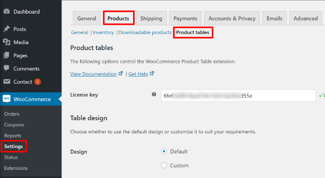 Access WooCommerce Product Table settings