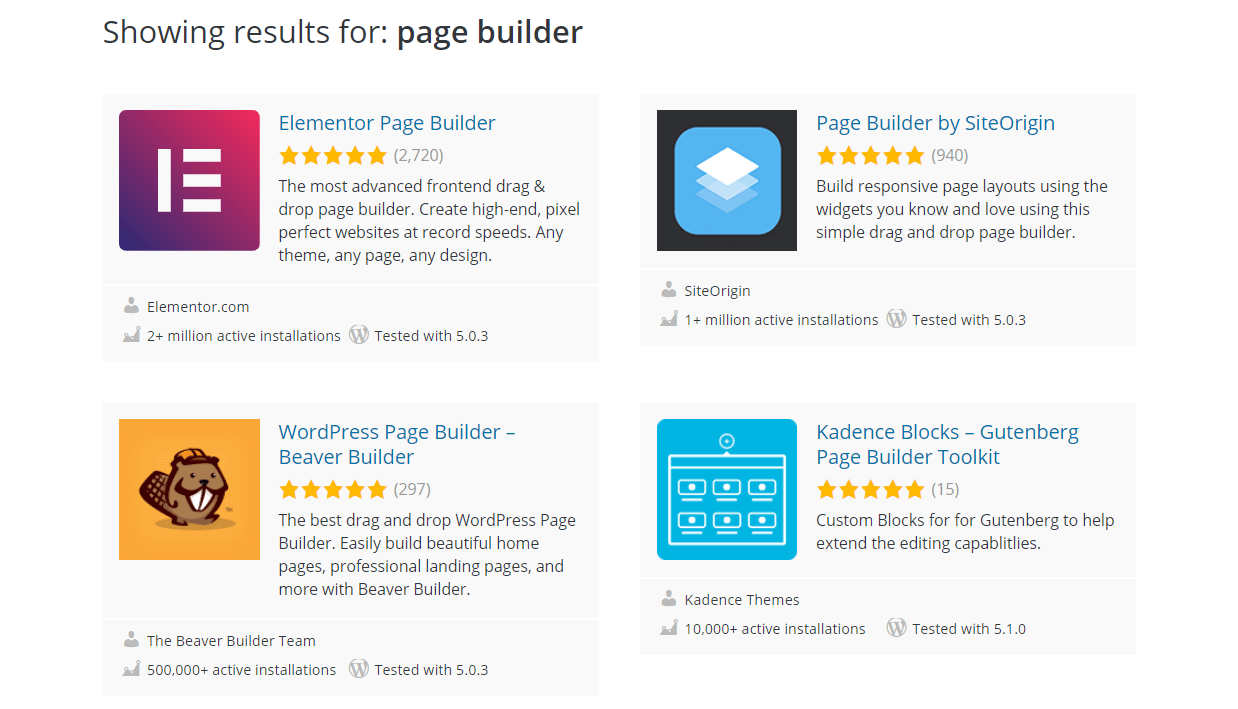A selection of WordPress page builders.
