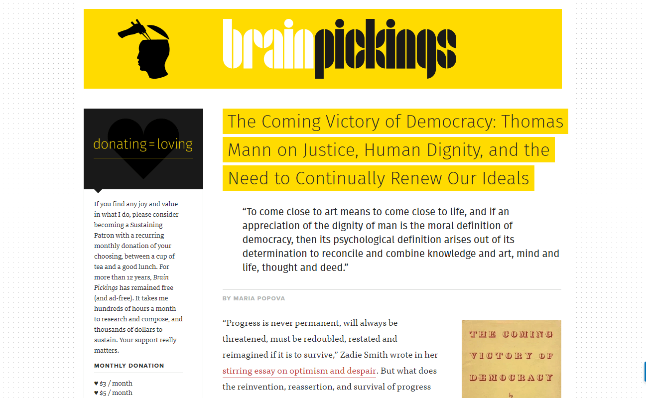 The Brain Pickings website.