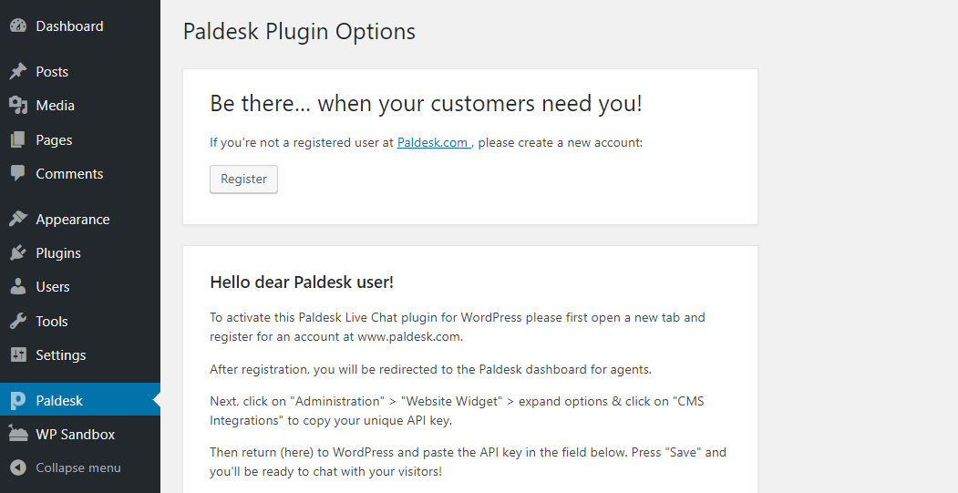 The Paldesk plugin's options.