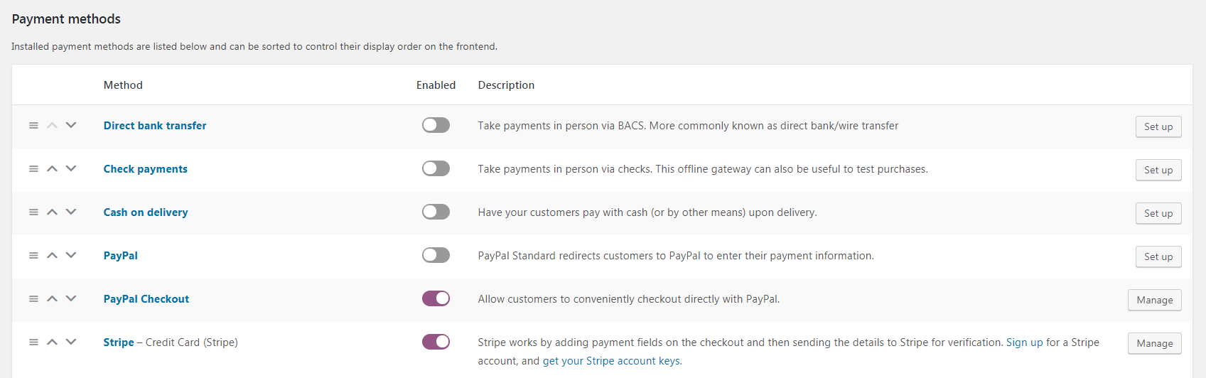 The default WooCommerce payment gateways.