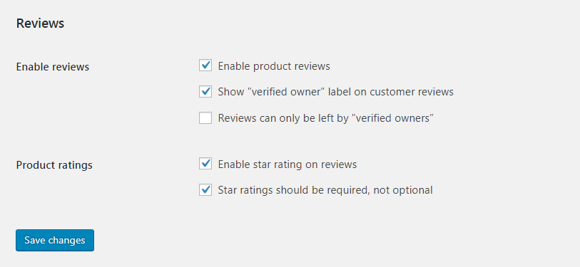 The WooCommerce review settings.