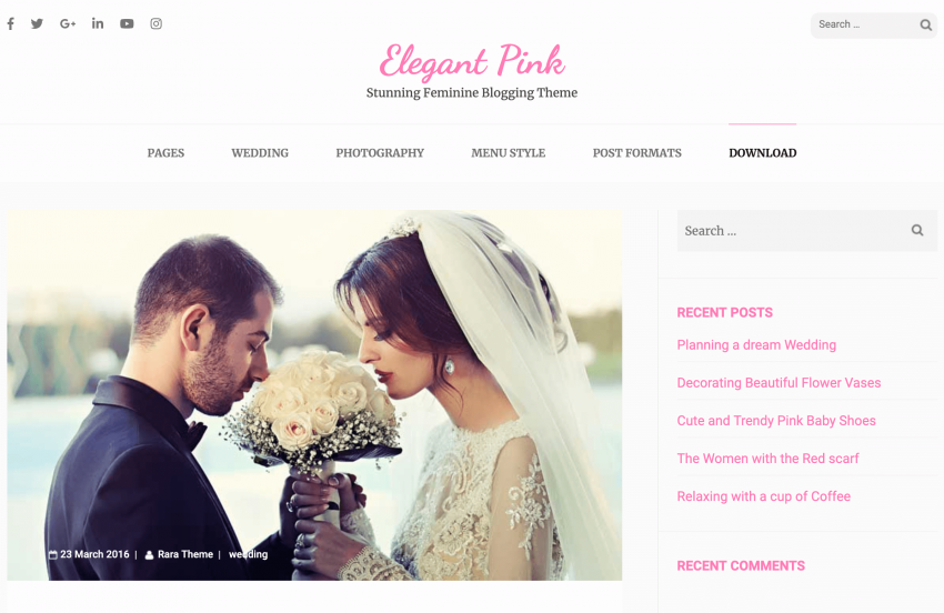 The Elegant Pink theme demo wedding page.