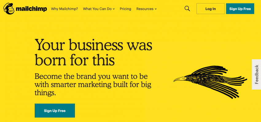 The MailChimp Homepage.