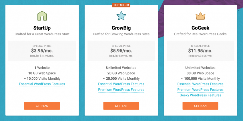 The Siteground pricing table for WordPress hosting.