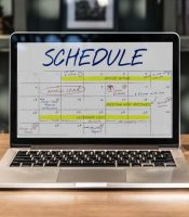 A schedule displayed on a laptop.