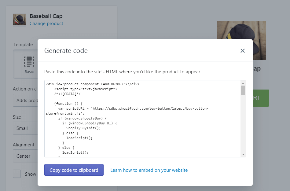 Code for a Shopify button.