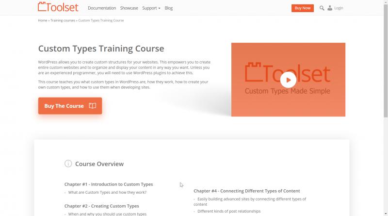 Toolset's Custom Types Training Course