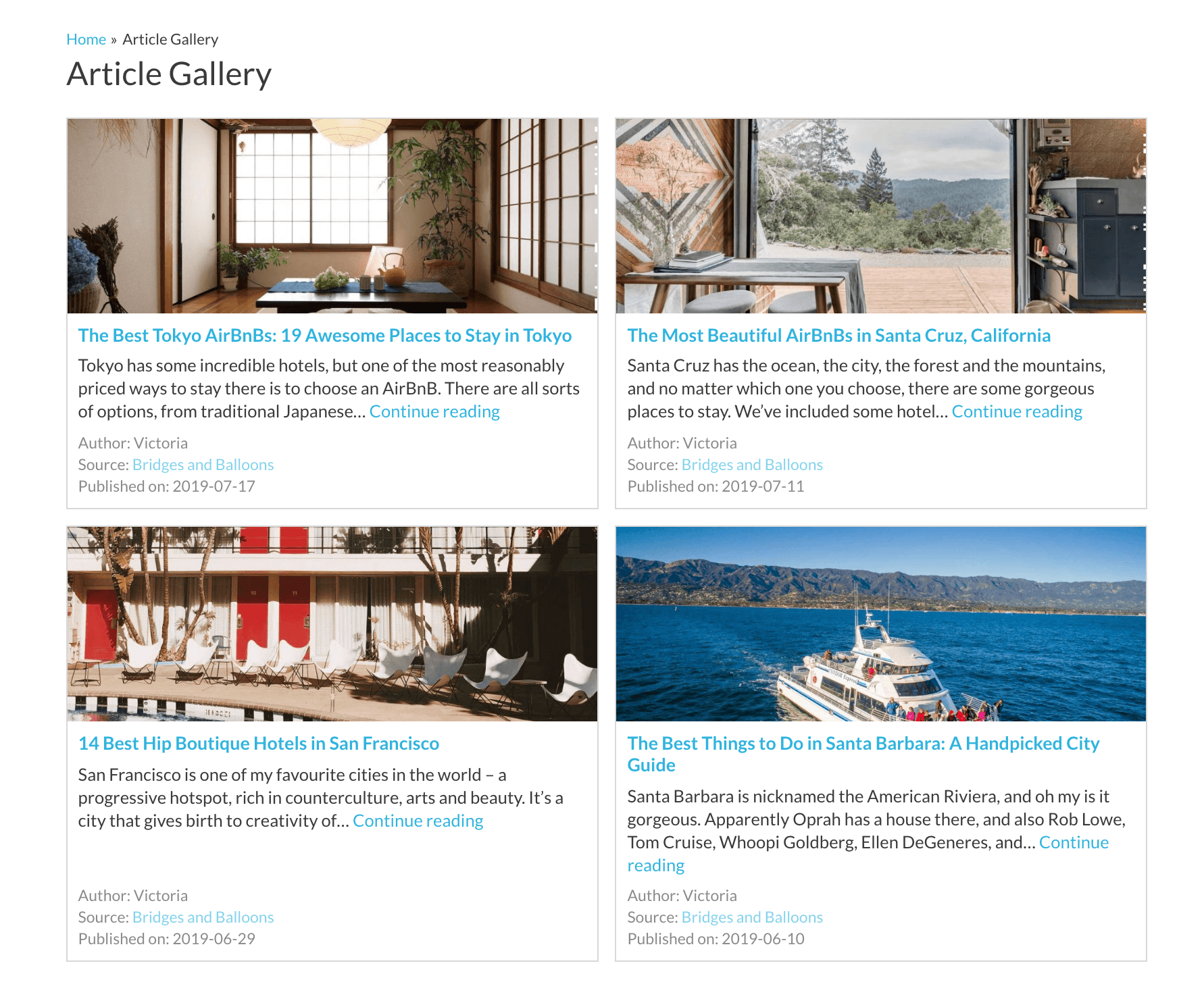 An example of a WordPress article gallery.