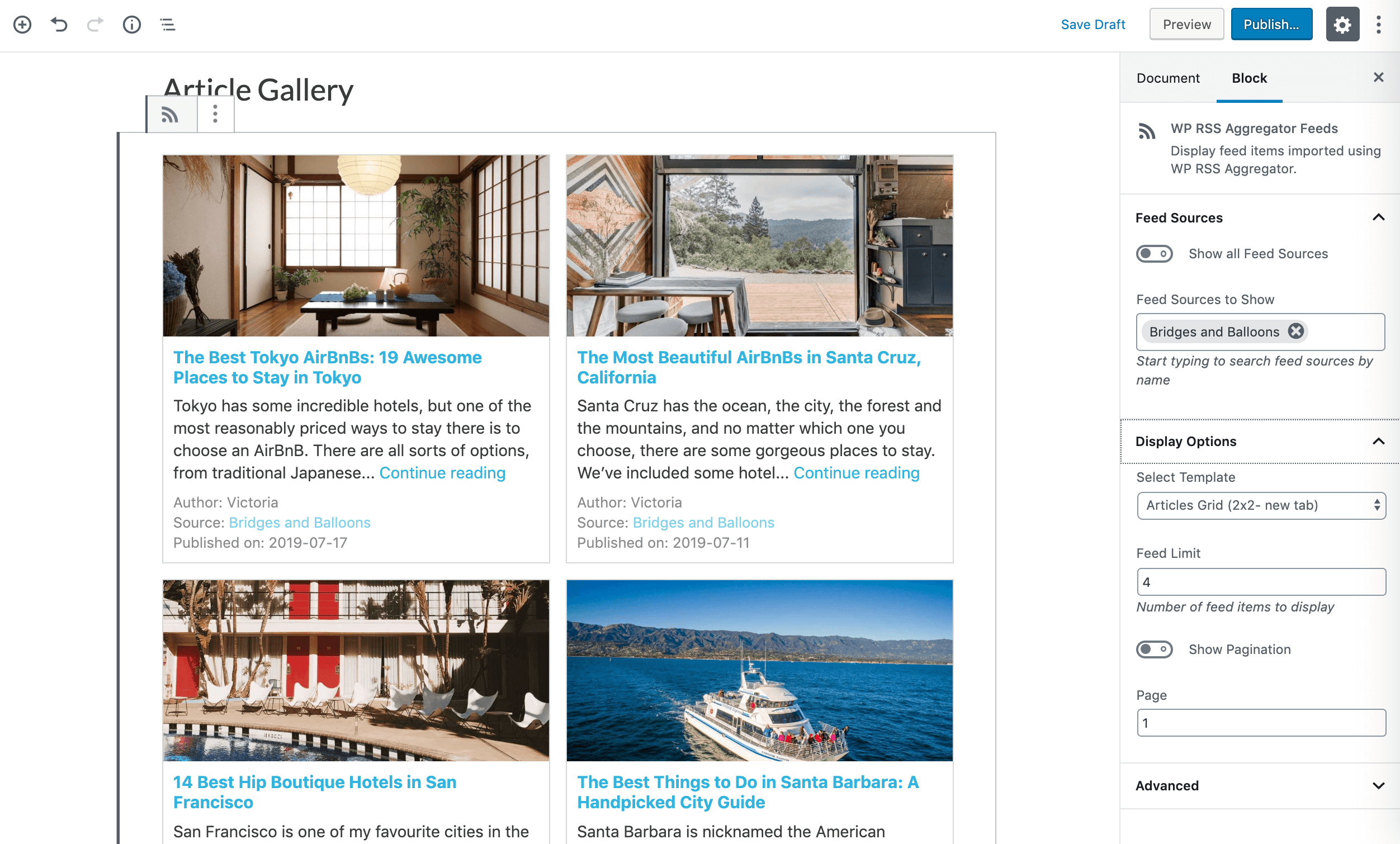 Choosing the grid template for a new article gallery.
