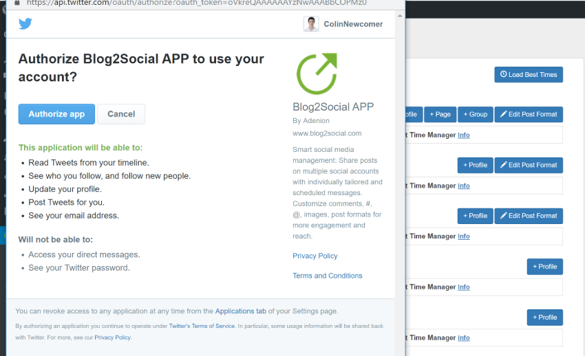 Twitter auth process