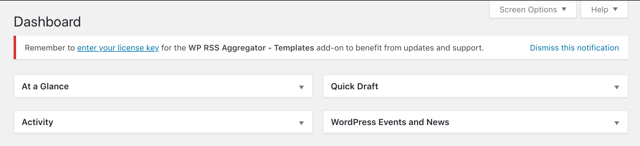 A notification from the Templates add-on to add your license key.