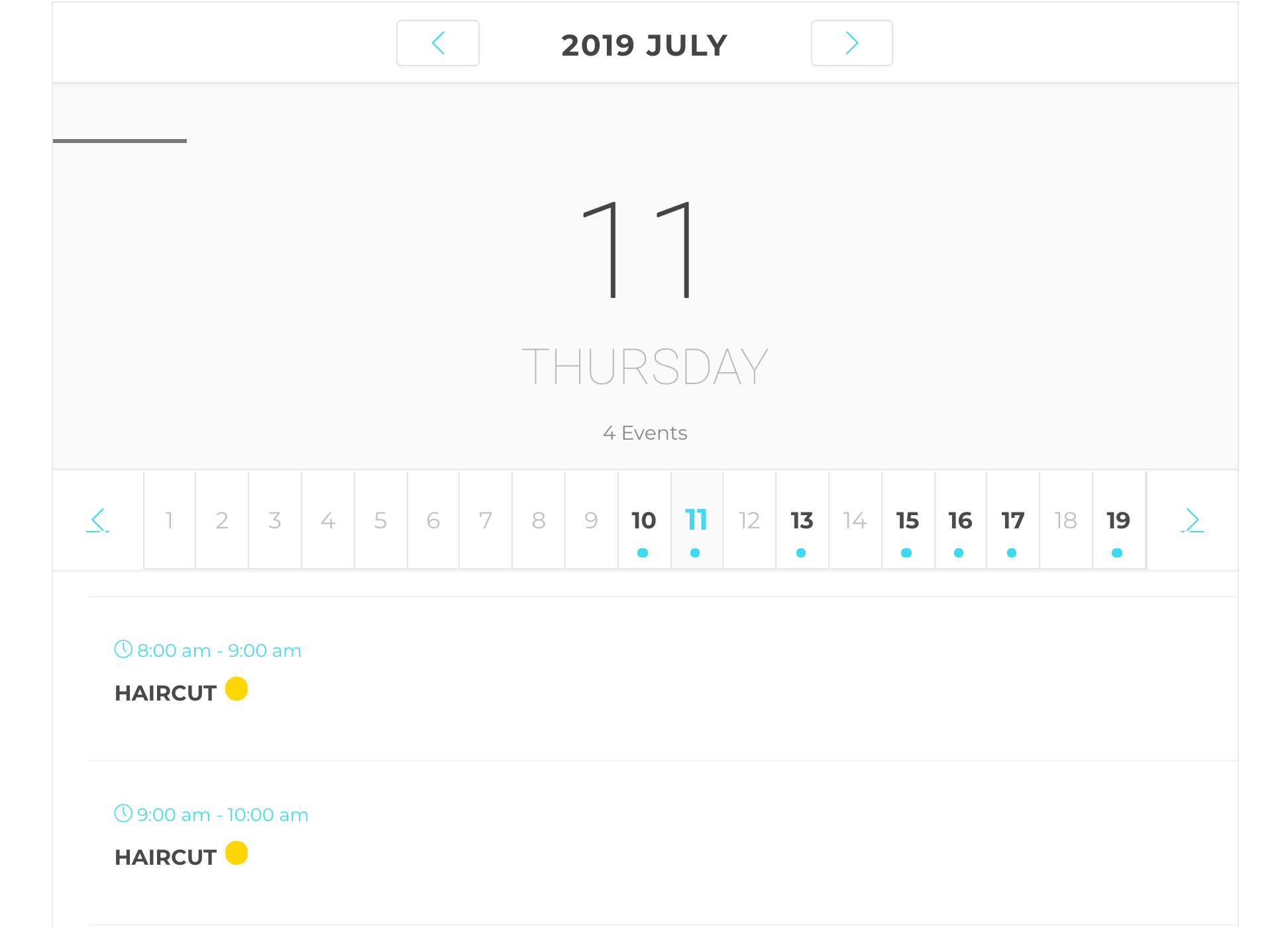 The Modern Events Calendar Daily View skin.