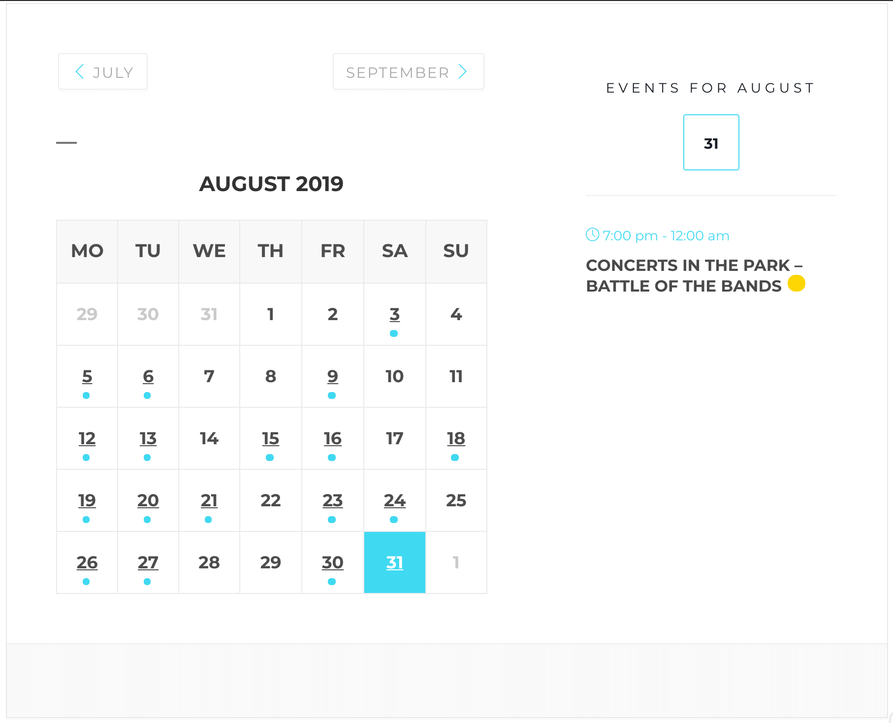 The Modern Events Calendar Calendar View Monthly skin.