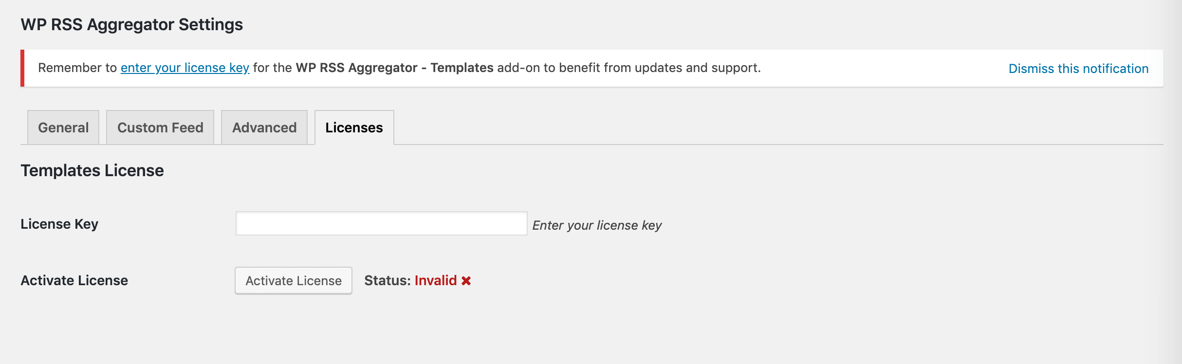 Entering the Templates license key.