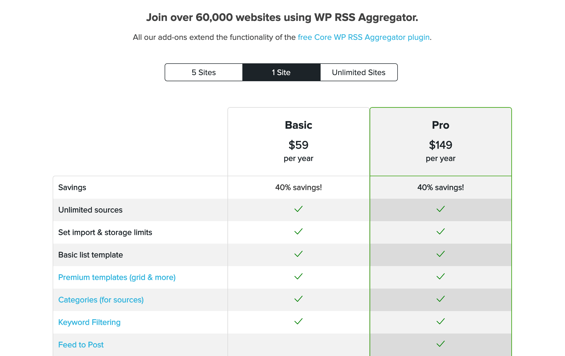 The WP RSS Aggregator plans pricing table.