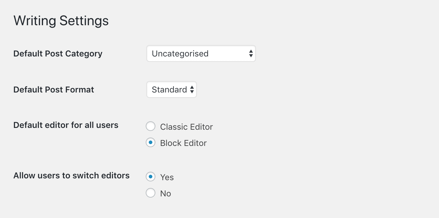 The Classic Editor options.