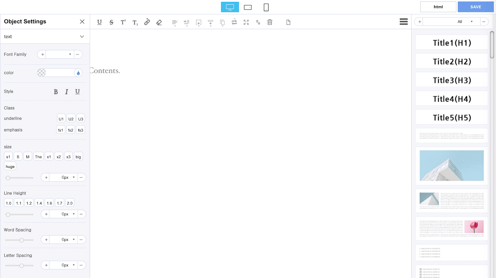 Opening the page builder.