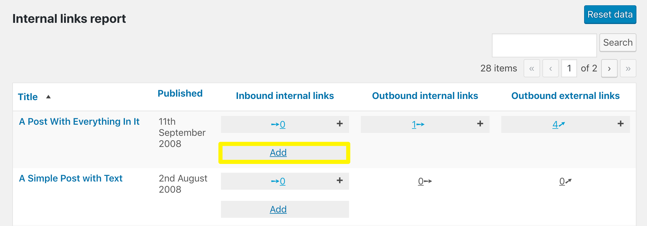 The outbound internal links add button in the Internal Links Report.