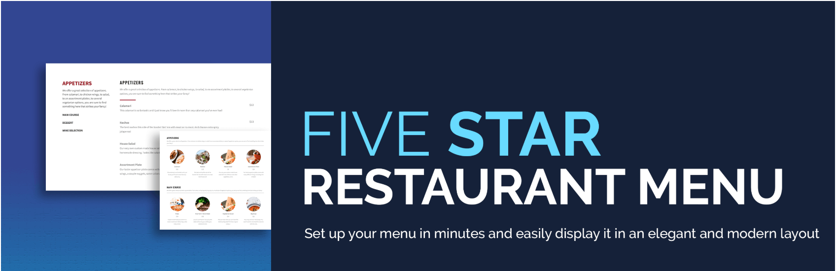 The Five Star Restaurant Menu plugin for WordPress.