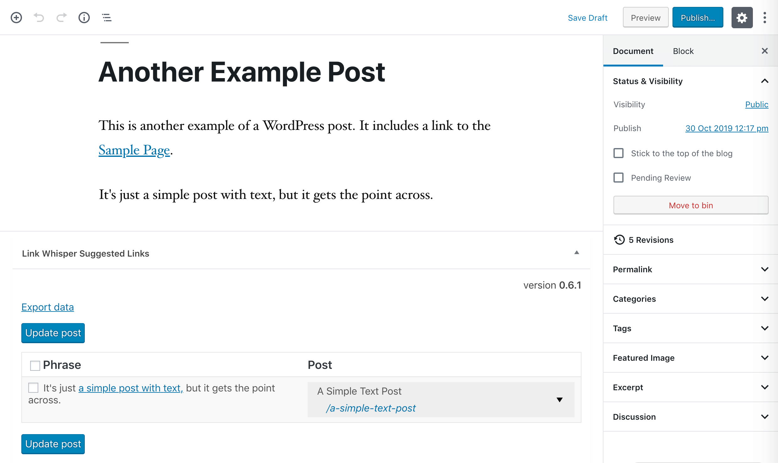 Adding outbound internal links in the WordPress editor using Link Whisper suggestions.